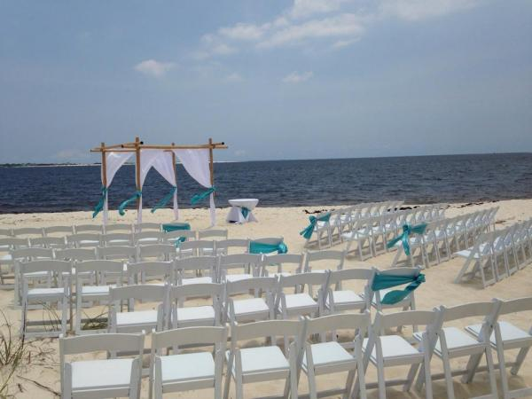 Bamboo Arbor, Chuppah, Beach Chairs, Resin Folding Chairs